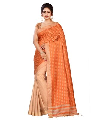 Maroon Women's Bhagalpuri Silk Saree With Blouse Piece