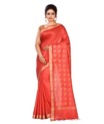 Red Women's Bhagalpuri Silk Saree With Blouse Piece