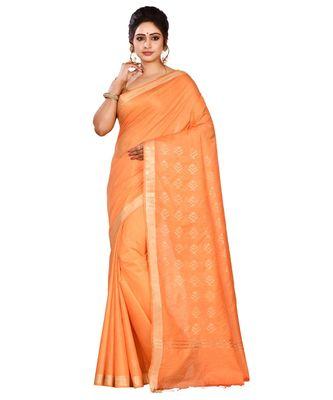 Orange Women's Bhagalpuri Silk Saree With Blouse Piece