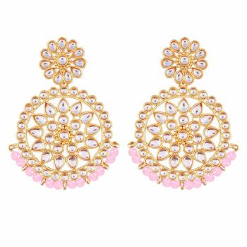 Gold Plated Kundan Chandbali Earrings For Women