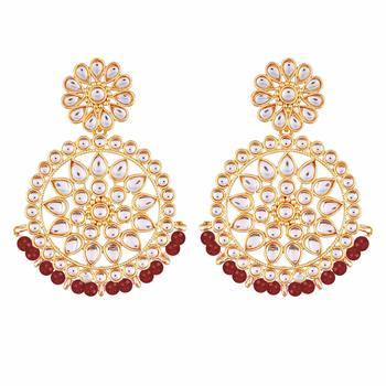 Gold Plated Kundan Chandbali Earrings for Women