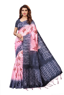 Peach printed art silk saree with blouse