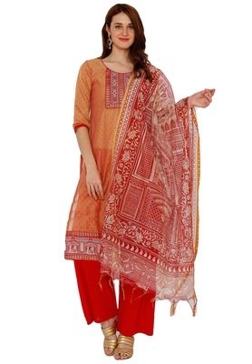 Women's Beige & Pink Cotton Embroidered Unstitch Dress Material with Dupatta