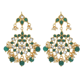 Traditional Gold Plated Pearl & Kundan Chandbali Earrings for Women