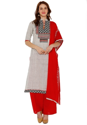 Women's Grey & Red Cotton Embroidered Unstitch Dress Material with Dupatta