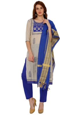 Women's Grey & Blue Cotton Embroidered Unstitch Dress Material with Dupatta