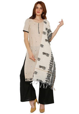 Women's Cream & Black Cotton Printed Unstitch Dress Material with Dupatta