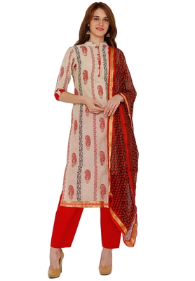 Women's Beige & Red Cotton Printed Unstitch Dress Material with Dupatta