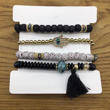 Pack of 4 Set Bohemian Black Gold Beads Multi-Layer Hamsa Hand Evil Eye Charms Bracelets Men's Jewellery