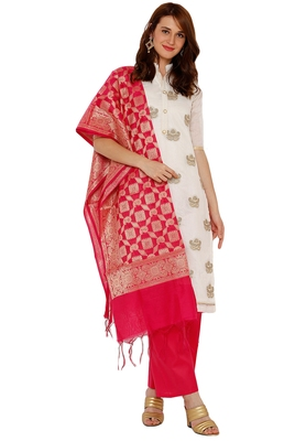 women's Chanderi silk embroidered unstitched dress material with Banarasi Dupatta