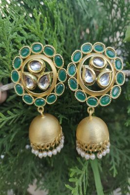 Green Emerald Jhumkas