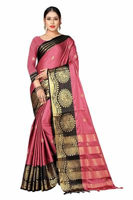 Peach printed cotton silk saree with blouse
