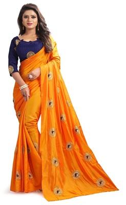 Orange printed silk blend saree with blouse