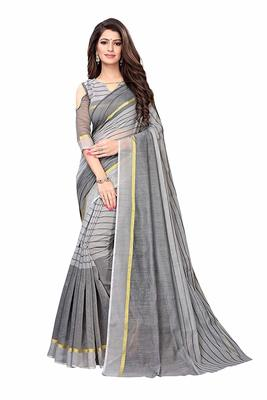 Grey printed chanderi saree with blouse