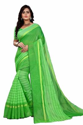 Green printed chanderi saree with blouse