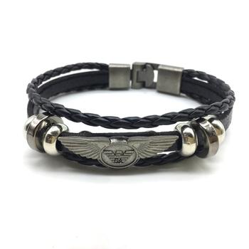 Black Alloy Eagle Wing Leather Bracelet Titanium Clasp with Magnets Multi Strand Bracelet Men's Jewellery