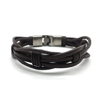 Brown Leather Bracelet Titanium Clasp With Stainless Steel Magnets Multi Strand Bracelet Men'S Jewellery