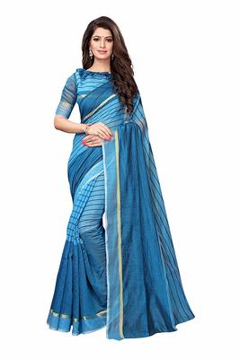 Sky blue printed chanderi saree with blouse