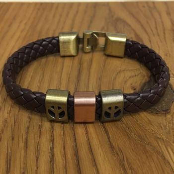 Brown Leather Cowhide Braided Wrap Rose Gold Peace Sign Symbol Bracelet Titanium Clasp Men's Jewellery