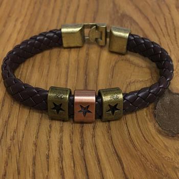 Brown Leather Cowhide Braided Wrap Rose Gold Star Symbol Bracelet Titanium Clasp Men's Jewellery