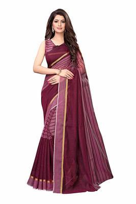 Purple printed chanderi saree with blouse