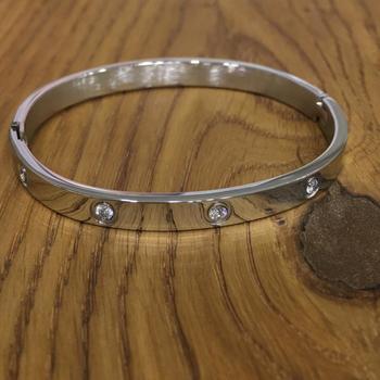 Pack of 3 Set Silver Plated Steel Classical Diamond Kada Bracelet Alloy Punjabi Sikh Style Men's Jewellery