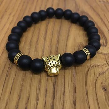 Black Beaded Alloy Gold Plated Tiger Eye Charms Bracelets Multi Strand Unisex Bracelet Men's Jewellery