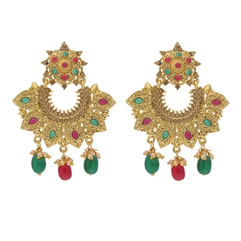 Traditional Gold Plated Pearl & Stone Studded Chandbali Earrings For Women