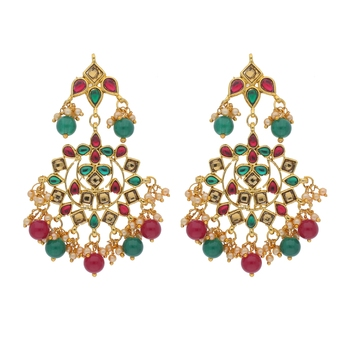 Traditional Gold Plated Pearl & Kundan Earrings for Women