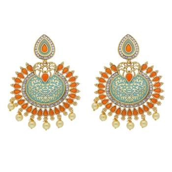 Traditional Gold Plated Pearl & Meenakari Chandbali Earrings For Women