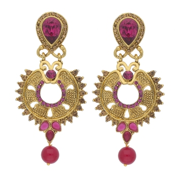 Traditional Gold Plated Stone Studded Chandbali Earrings for Women