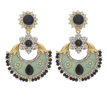 Traditional Gold Plated Meenakari & Stone Studded Chandbali Earrings For Women