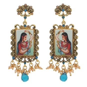 Traditional Gold Plated Padmavati Pearl Earrings for Women