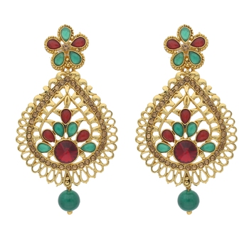 Traditional Gold Plated Stone Studded Earrings for Women