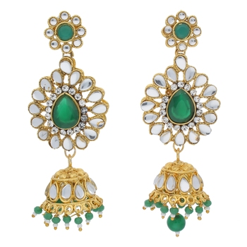 Traditional Gold Plated Kundan & Pearl Jhumki Earrings For Women