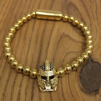 Bohemian Gold Plated Beads Alloy Knight Spartan Warrior Helmet Charms Collection Bracelets Men's Jewellery