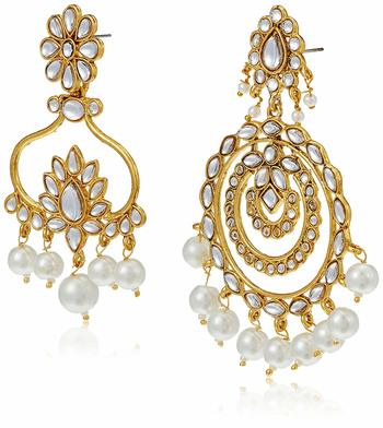 Gold Plated Kundan & Pearl Designer Combo Earrings for Women