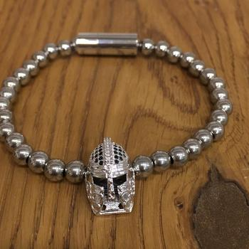 Bohemian Silver Plated Beads Alloy Knight Spartan Warrior Helmet Charms Collection Bracelets Men's Jewellery