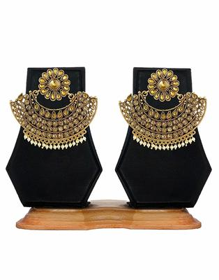 Gold Plated Pearl & Stone Studded Designer Earrings for Women