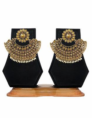 Gold Plated Pearl & Stone Studded Designer Earrings For Women
