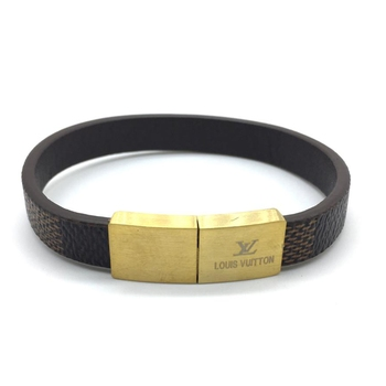 Brown Leather Bracelet Titanium Clasp With Gold Plated Steel Magnets Multi Strand Bangles Men'S Jewellery
