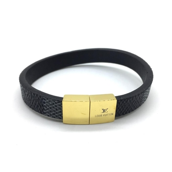 Navy Blue Leather Bracelet Titanium Clasp with Gold plated Alloy Magnets Bangles Men's Jewellery