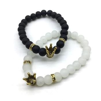Pack of 2 Set Black White Beads Golden King Queen Crown Charms Couple Bracelets Bracelet Men's Jewellery