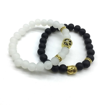 Pack Of 2 Set Black White Beads Golden Peace Sign Symbol Buddha Charms Couple Bracelets Men'S Jewellery
