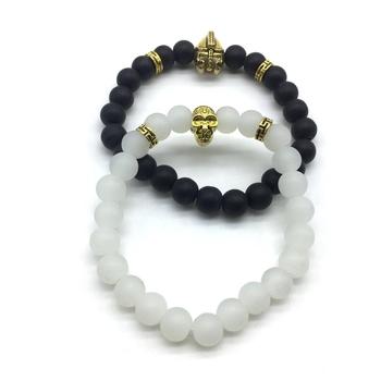 Pack Of 2 Set Black White Beads Golden Knight Spartan Warrior Hamlet Skull Charms Bracelets Men'S Jewellery