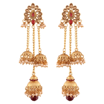 Gold Plated Pearl Chain Earring for Women