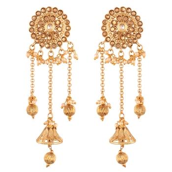 Gold Plated Bahubali Kundan & Pearl Chain Earring for Women
