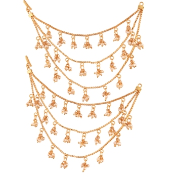 Gold Plated Bahubali Hair Chain Accessories For Earrings For Women