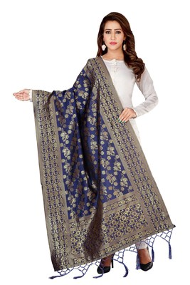 Navy Blue woven banarasi Weaving Work Dupatta