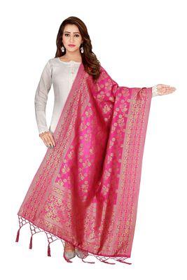 Pink woven banarasi Weaving Work Dupatta